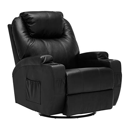 Mecor Massage Recliner Chair Bonded Leather Heated Recling Chair Living Room Rocker Recliners w/360 Degree Swivel/Cup Holder/Remote (Black)