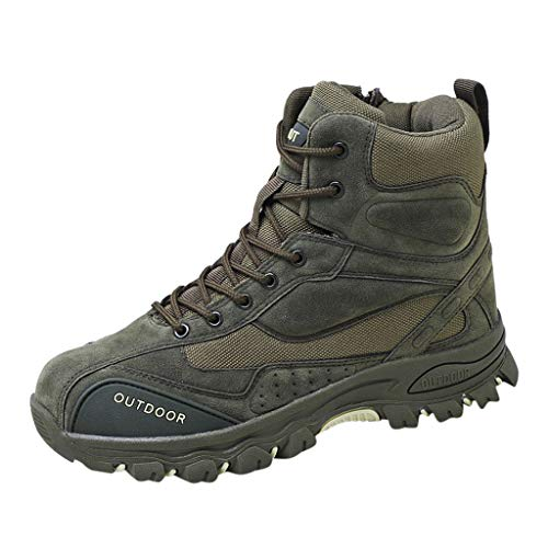 HOSOME Men Military Boots Comfortable Non-Slip High-Rise Outdoor Hiking Boots Outdoor Shoes Desert Boots (43, Green) ()