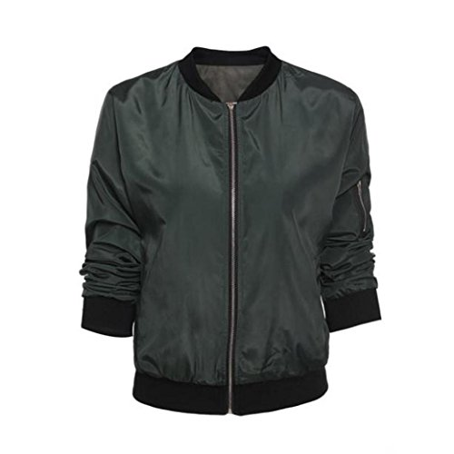 Casual Raglan Jacket Sleeve Biker Up Vintage Coats HARRYSTORE Loose Jacket Women's Classic Green Short with Bomber Flight Zip Jacket Lady Bomber Pockets Zipper Jacket Short pqxZaxO