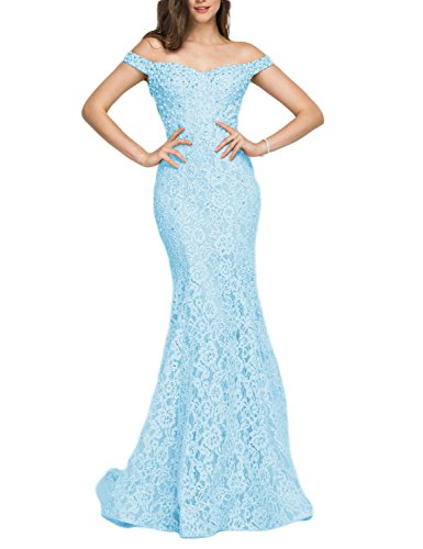 YSMei Women's Long Mermaid Lace Evening Prom Dress Off The Shoulder Beaded Formal Gown Light Blue 16