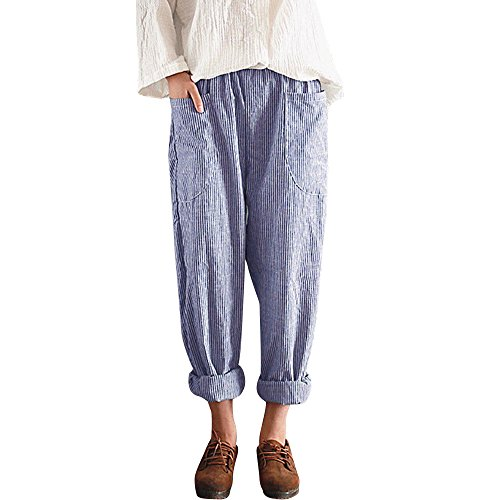 Hot sale Farjing Women High Waist Vintage Striped Loose Cotton Linen Long Trousers Harem Pants(XL,Blue)