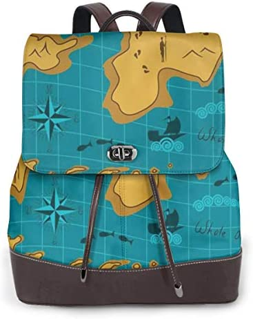 Women's Leather Backpack,Historical Adventure Map Pattern with Sail Boats Direction Route Track Graphic,School Travel Girls Ladies Rucksack
