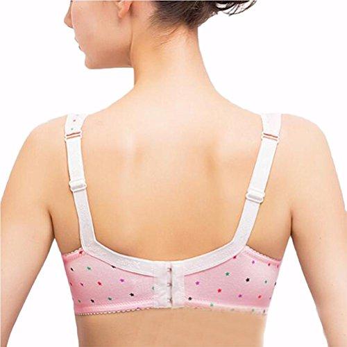 Ropa interior sujetador de las señoras sección delgada de las mujeres embarazadas algodón de gran tamaño de amamantamiento front-end abra sujetador brazo 95e no anillo de acero Pink