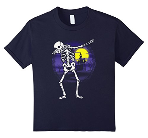 Kids Dabbing Skeleton Halloween Shirt Haunted House Party Funny 12 Navy