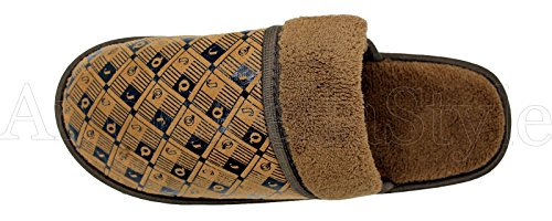 MENS HOUSE SLIPPERS SLIP ONS ROUND TOE - CLOSED FRONT INDOOR OUTDOOR HOME STREET - BLACK BROWN NAVY -1514 Brown fKEe33THzA
