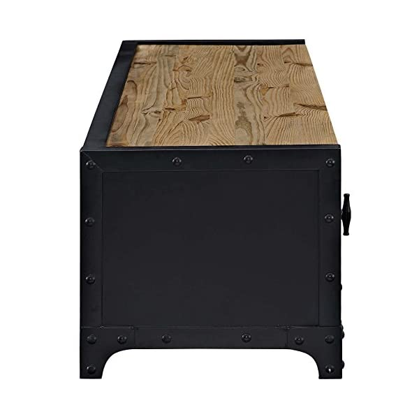 Modway Dungeon Industrial Pine Wood and Steel TV Stand In Black 4