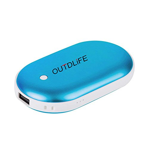 OUTDLIFE Rechargeable Hand Warmer 5200mAh/7800mAh Power Bank, Portable USB Electric Hand Warmers Double-Sided Heating Mobile External Battery Charger Best Gift in Winter for Women,Man (Blue)