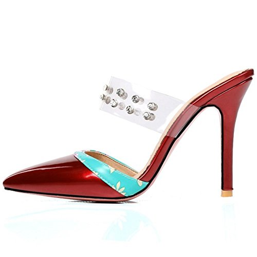Mujer Red Sandalias Mules Mode Zanpa RnW6gTqdR