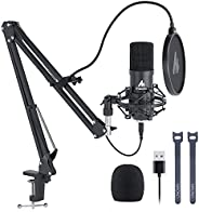 USB Microphone Kit, MAONO 192KHZ/24Bit Cardioid Condenser PC Microphone with Two Metal Stand for Podcasting, G