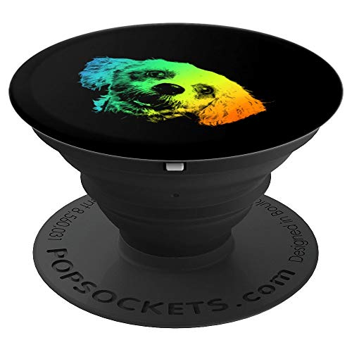 Terrier Mix Colorful Vintage Retro - PopSockets Grip and Stand for Phones and Tablets