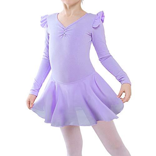 BAOHULU Girl's Skirted Long Sleeve Dance Leotards for Ballet -