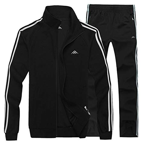 INVACHI Men's Casual 2 Pieces Contrast Cord Full Zip Sports Sets Jacket & Pants Active Fitness Tracksuit Set by INVACHI