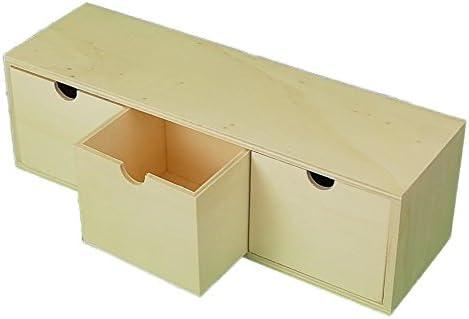 Caja 3 cajones. En madera en crudo para pintar. Medidas (ancho ...