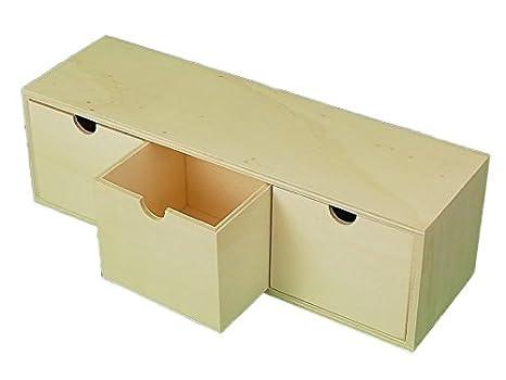 Caja 3 cajones. En madera en crudo para pintar. Para decoración y manualidades.: Amazon.es: Hogar