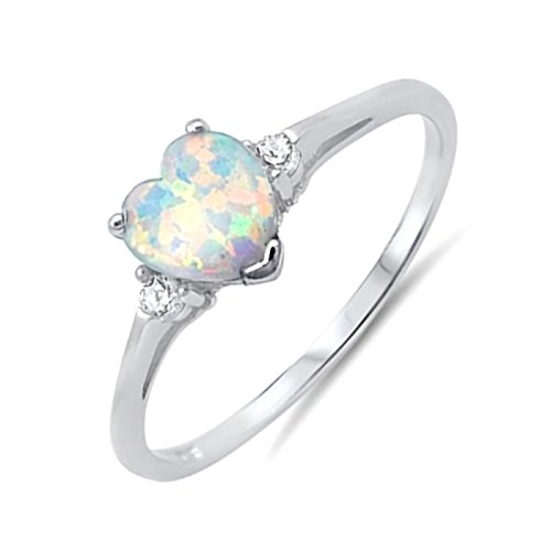 Heart Lab Created Opal Solitaire Ring with CZ Side Sterling Silver Gift Ideas Size 5 - White Opal