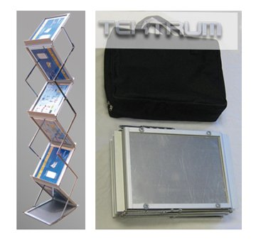 Tektrum Metal Literature Rack Display Holder Stand, Pop-up Magazine Rack, For Trade Show (6 - Collapsible Literature Stand