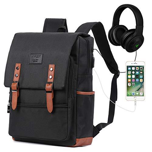 Vintage Laptop Backpack for Women Men School College Backpack with USB Charging Port Fashion Backpack Fits 15.6 inch Notebook Black