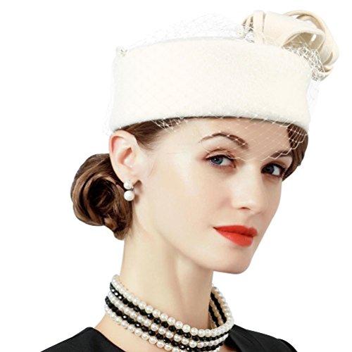 VBIGER Women Fascinator Hats Derby Wedding Hats Vintage Hat Pillbox Hat Woollen Felt Hat Bow Veil Party Hat for Women (White) (Vintage Style Cap Hat)