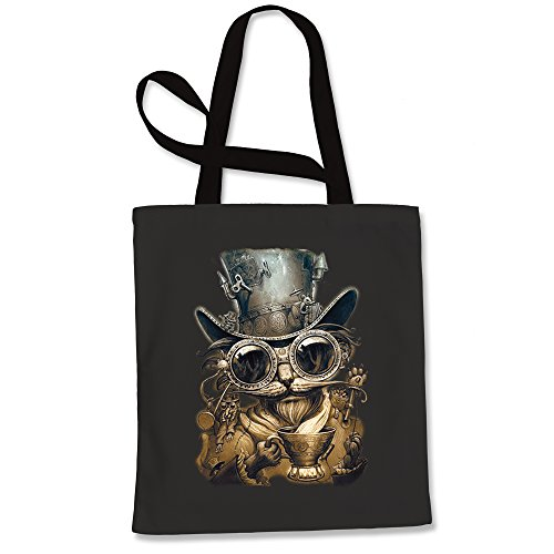 Expression Tees Steampunk Cat With Top Hat Shopping Tote Bag