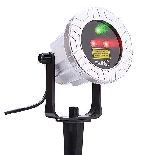 Outdoor Laser Light SUNY 3 Lens Christmas Laser Projection Red Green Dual Color Star Dots Projector Landscape Laser Light Wide Coverage Waterproof Aluminum Holiday Party Garden Yard Night Decoration ()