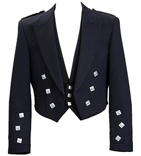 Prince Black Jacket - Mens Scottish Prince Charlie Kilt Jacket With Vest (50R, Black)