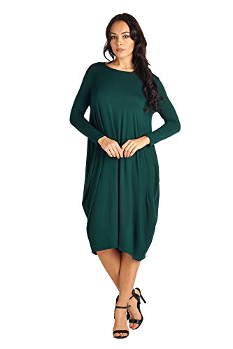 82 Days Women'S Rayon Span Long Sleeves Loose Fit Jersey Midi Dress - Solid, Dark Green, XL