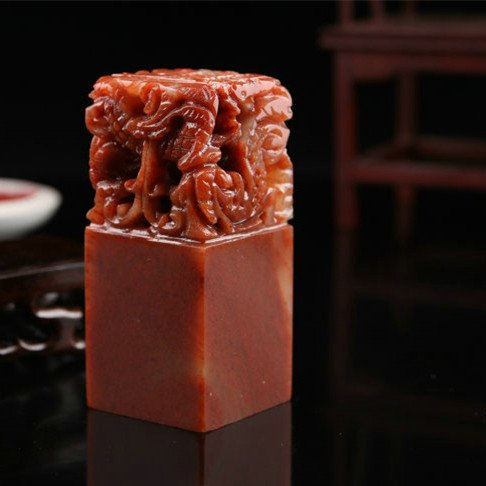 YZ012 Hmay Chinese Name Chop with Dragon Design / Handmade Carve Personalize Customized Traditional Calligraphy Painting Art Stamp Seal by Hmay Personalize Seal