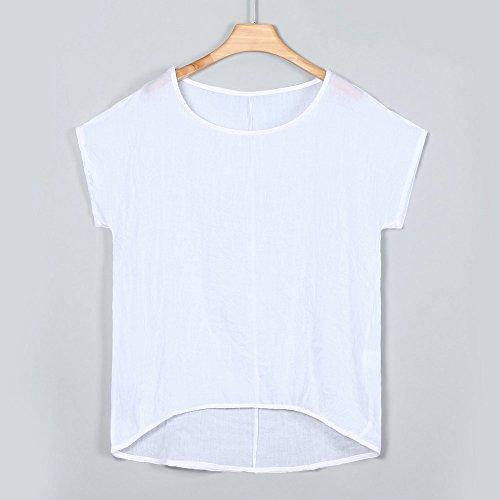 iLOOSKR Women Bat Sleeve Short Sleeve Shirt Casual Loose Top T-Shirt Pullover(White,XXXL) by iLOOSKR (Image #1)
