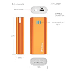 Jackery Bar Pocket-sized 6000mAh Ultra Compact Portable Charger (External Battery Power Bank) with Premium Battery Cells Aluminum Shell Superior Charging Speed (Orange)