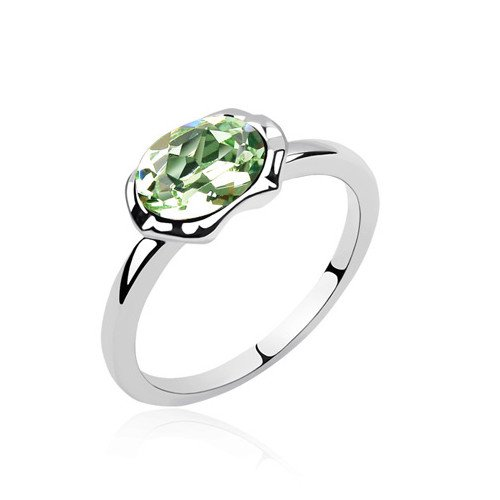plateado elementos de Swarovski Crystal Diamond Accent Wish Piedra Eternidad Compromiso Anillos de Boda para Mujer
