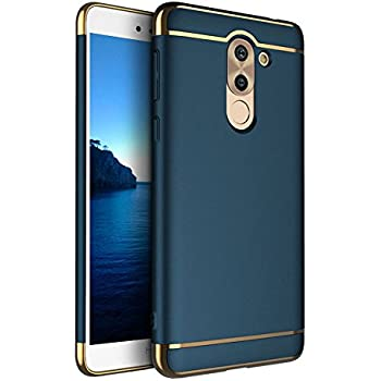 Honor 6X case, Opretty 3 In 1 fashion Ultra Thin and Slim Hard Case Coated Non Slip Matte Surface with Electroplate Frame for Huawei Honor 6X (3 In 1 Dark blue)
