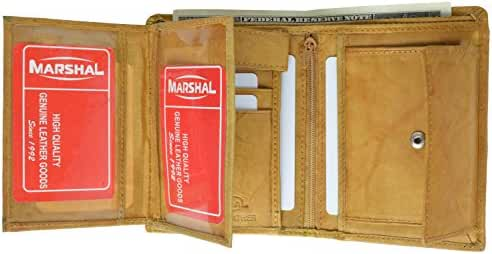 Marshal Wallet Leather Men's Hipster Flap Out Wallet Snap Pocket