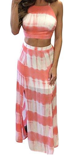 (Bigyonger Women's Crop Top Maxi Skirt Set 2 Piece Outfit Bandage Nightclub Dress (Large, Pink))
