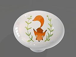 Whimsical Woodland Fox Gloss Ceramic Drawer Knob