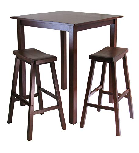 - Winsome's Parkland 3-Piece Square High/Pub Table Set in Antique Walnut Finish