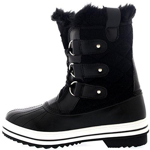 Damen Schnee Stiefel Nylon Short Schnee Pelz Regen Wasserdicht Stiefel Schwarz Textil