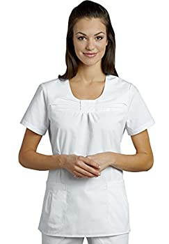 White Cross White Jewel Neck Scrub Top (L)