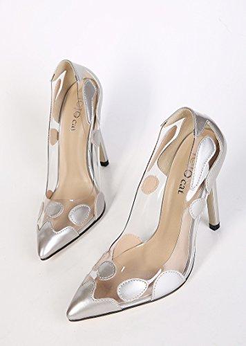 zapatos Elegancia un Silver clara mujer europea de americana alto solo y de de zapatos tacón 00xHrq