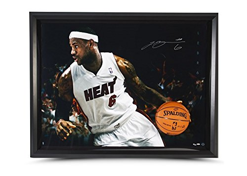 Autographed Display Framed (Lebron James Autographed Photo Heat Breaking Through Framed Display - Upper Deck Authentic)