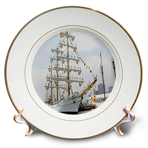 "3dRose""""Image of Tall Mexican Sailing Ship Porcelain Plate, 8"""