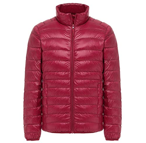 Coat Men's Clothing Down Jacket Plus Jacket Down HX Quilted Slim Color Coat Red fashion Comfortable Ultra with Solid Light Outwear Down Long Fit Sizes Jacket Stand Lightweight Sleeve Collar Size f5qEOwE