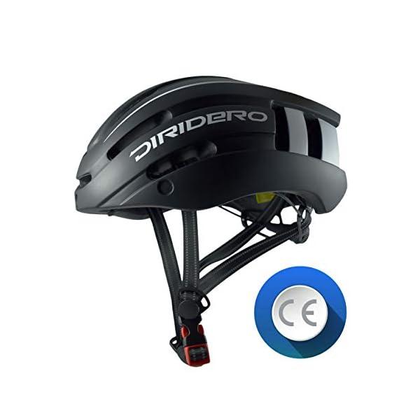DIRIDERO Casco Bici Luce LED, Certificato CE, Casco con Visiera Magnetica Staccabile, Casco da Bici Super Leggero, Casco Integrale, MTB e Bicicletta Skateboarding Sci & Snowboard per Adulti 3 spesavip