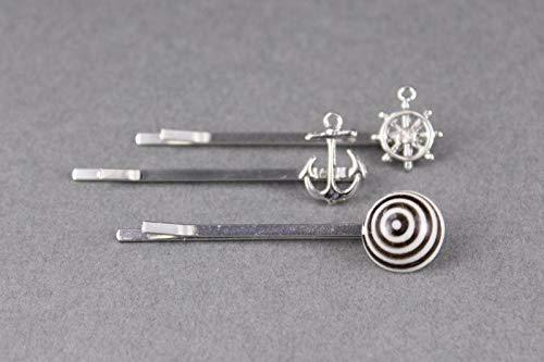 Hair Clips Set 3 Anchor Wheel Bead Silver Bobby Bobbi Pins Clip Barrette Hairpin Accessory Colored Hair Clips for Women