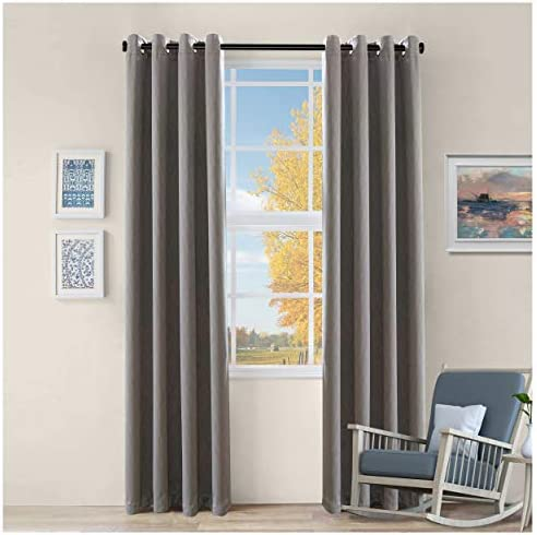 Superior Zuri Blackout Curtains with Grommet Header, 52 x 108 , Charcoal, 2 Piece