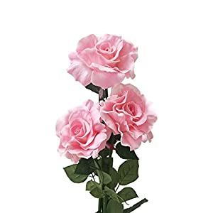 Floral Kingdom Large Real Touch Rose Flowers for Artificial Floral Arrangements, Bouquets, Home/Office Decor (Pack of 3) 35