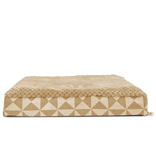 FurHaven Pet Dog Bed | Deluxe Cooling Gel Memory Foam Orthopedic Plush Kilim Mattress Pet Bed for Dogs & Cats, Pyramid Latte, Small ()