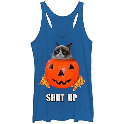 Grumpy Cat Women's Halloween Candy Shut Up Royal Blue Heather Racerback Tank Top -