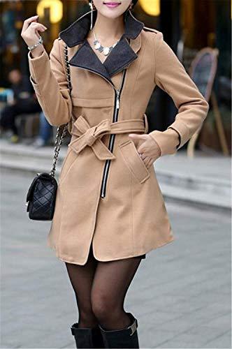 Slim Giaccone Cerniera Bavero Con Invernali Calda Donna Comodo Moda Lunga Kakhi Eleganti Cappotto Outerwear Giacca Autunno Giovane Fit Manica Trench d1wtqwO