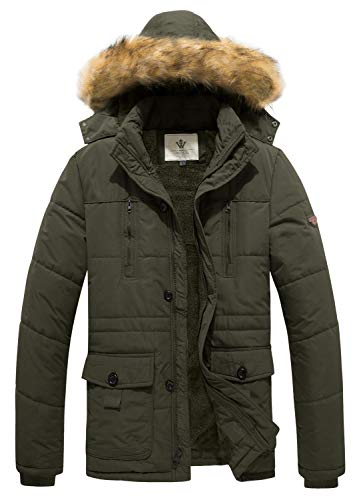 WenVen Men's Hooded Warm Coat Winter Parka Jacket (Army Green, Small) ()