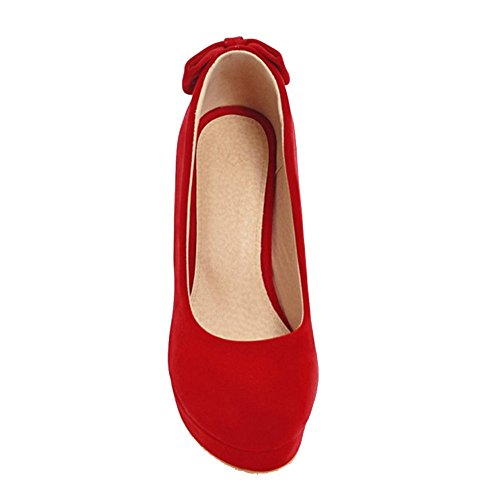 SJJH Court Shoes with High Heel Slip-on Dressy Shoes with Large Red YVEj87
